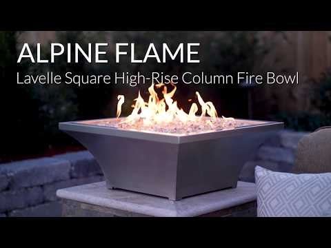 Alpine Flame Lavelle High-Rise Column Fire Bowl-Stainless Steel