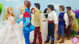 Princesas Disney Se Casan: Ariel, Aurora, Blancanieves, Cenicienta Y Tiana - Vestidos Para Muñecas