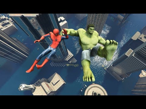 GTA 5 Spiderman vs Big Hulk Funny Ragdoll (Flooded Los Santos) ep.1