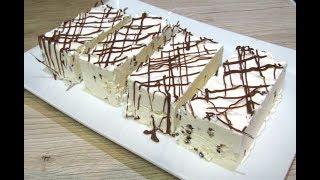 تحلية ايس كريم بالحجم العائلي ب2 مكونين أساسين فقط رووعة في المذاق طبييعي و سريييع ice cream cake | Kholo.pk