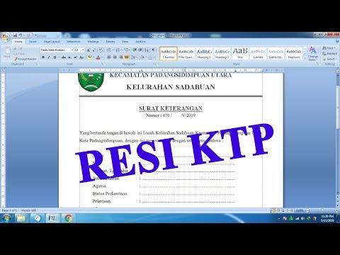 FORMAT RESI KTP KELURAHAN - BELAJAR MEMBUAT SURAT RESI KTP / RESI KTP