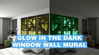 Glow In Dark Wall Mural - Fake Window Glowing Wall Mural