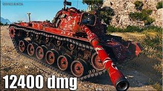РЕКОРД по УРОНУ 🌟 12400 dmg 🌟 M48A5 Patton  World of Tanks лучший бой ст 10