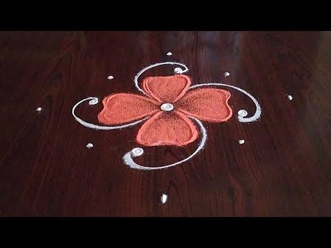 simple easy daily 5 dot kolam design by sresta rangoli