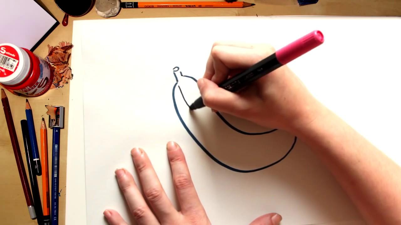 Como desenhar uma Banana - desenhos de frutas para crianças