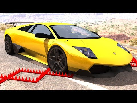 Supercars Against Spike Strips #2 - BeamNG Drive Police Spike Strip Testing
