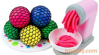 Learn Colors with Squishy Mesh Balls and Play Doh Pasta Spaghetti Making Machine Toy Nursery Rhymes