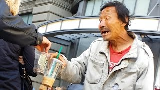 Homeless Vietnamese Addict Begging S.F. Tourists for Money (4K UHD)