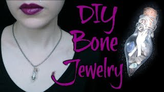 Tiny Bones And Gemstones Bottle Pendant | Creepy Necklace DIY