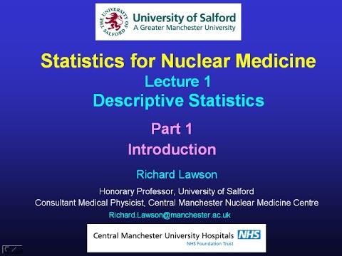 Statistics Lecture 1, Descriptive Statistics; Part 1