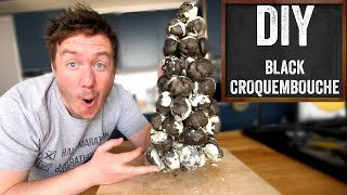 Black Croquembouche Recipe (Charcoal Profiterole Tower!) by  My Virgin Kitchen