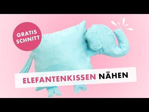 Elefantenkissen nähen - Dekoration, Kuscheltier, Geschenkidee - gratis Schnittmuster