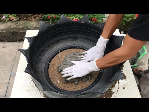 Creative ideas potted plants at home // Make potted plants from cement and old tires