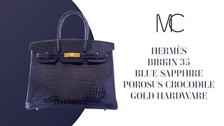 01353b23205 MIGHTYCHIC • Hermes Birkin 35 Bag Blue Sapphire Porosus Crocodile Gold  Hardware