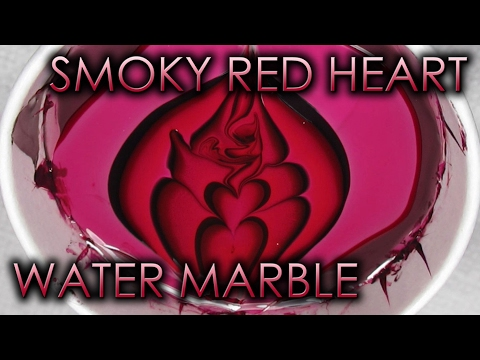 Smoky Red Heart Water Marble | DIY Nail Art Tutorial