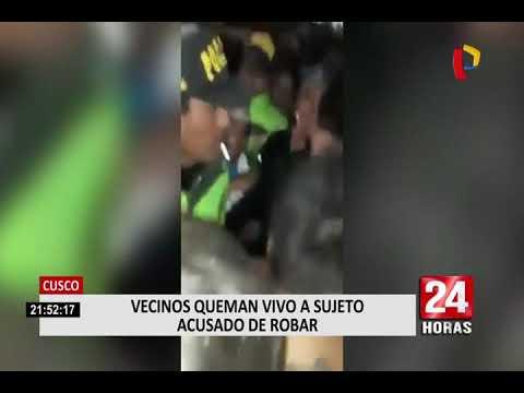 Cusco: indignados pobladores queman vivo a sujeto acusado de robar