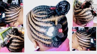 Easy Lemonade Braids For Little Girls || Cornrow Hairstyle For Kids || Lemonade Braids || Kids Hair