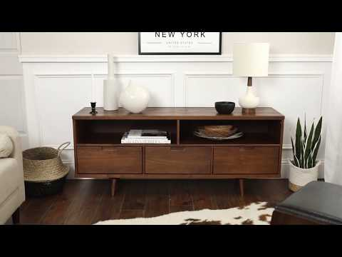 Video for Ivy 58-inch 3 Drawer Mid Century Modern TV Stand - Walnut