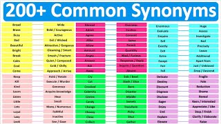 Synonyms: Learn 200+ Common Synonyms   Improve English Vocabulary