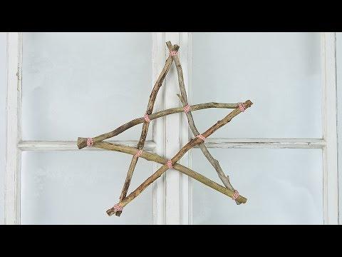 DIY - Weihnachtsdeko selber machen - Sterne basteln I aus Ästen I Basteln mit Naturmaterial I How to