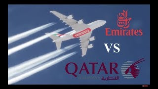 Emirates A380 Racing Qatar Airways A350 At 40,000 Ft