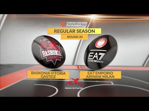 EuroLeague Highlights RS Round 24: Baskonia Vitoria Gasteiz 87-74 EA7 Emporio Armani Milan