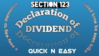 Declaration of dividend, quick n easy..