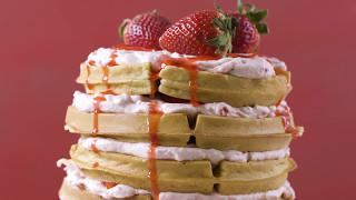 How To: Strawberries & Cream Waffle Cake