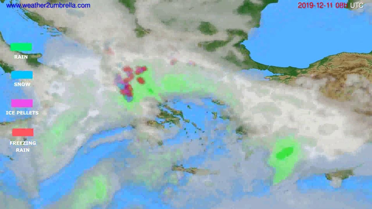 Precipitation forecast Greece // modelrun: 12h UTC 2019-12-10