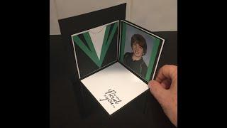 Corner fold pop up card in shape of mortar board hat for graduation