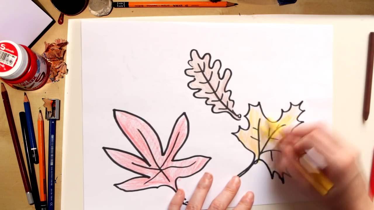 Como dibujar hojas de otoño - dibujos de otoño para niños