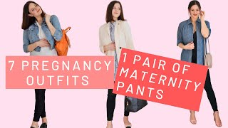 Styling 1 Pair Of Maternity Pants 7 WAYS | Pregnancy Outfit Ideas & Pregnancy Clothing Hacks |