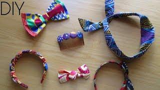 DIY African Print HAIR Accessories- 4 IDEAS!