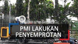 Jalan di Kota Bogor Disemprot Disinfektan Pakai Truk Tangki PMI