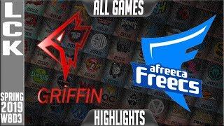 GRF vs AF Highlights ALL Games | LCK Spring 2019 Week 8 Day 3 | Griffin vs Afreeca Freecs