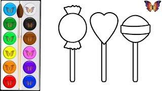 Как нарисовать СЛАДОСТИ / мультик раскраска СЛАДОСТИ для детей / Раскраски малышам