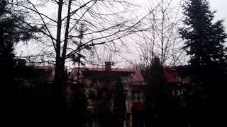 Pierwsza wiosenna burza w Warszawie 9.03.2019 - obfity deszcz, grzmot