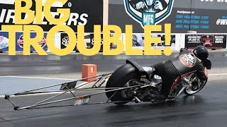 NITRO HARLEY CRASH APPEARS IMMINENT! HEART POUNDING WILD RIDE FOR DRAG BIKE RACER & WHAT WENT WRONG
