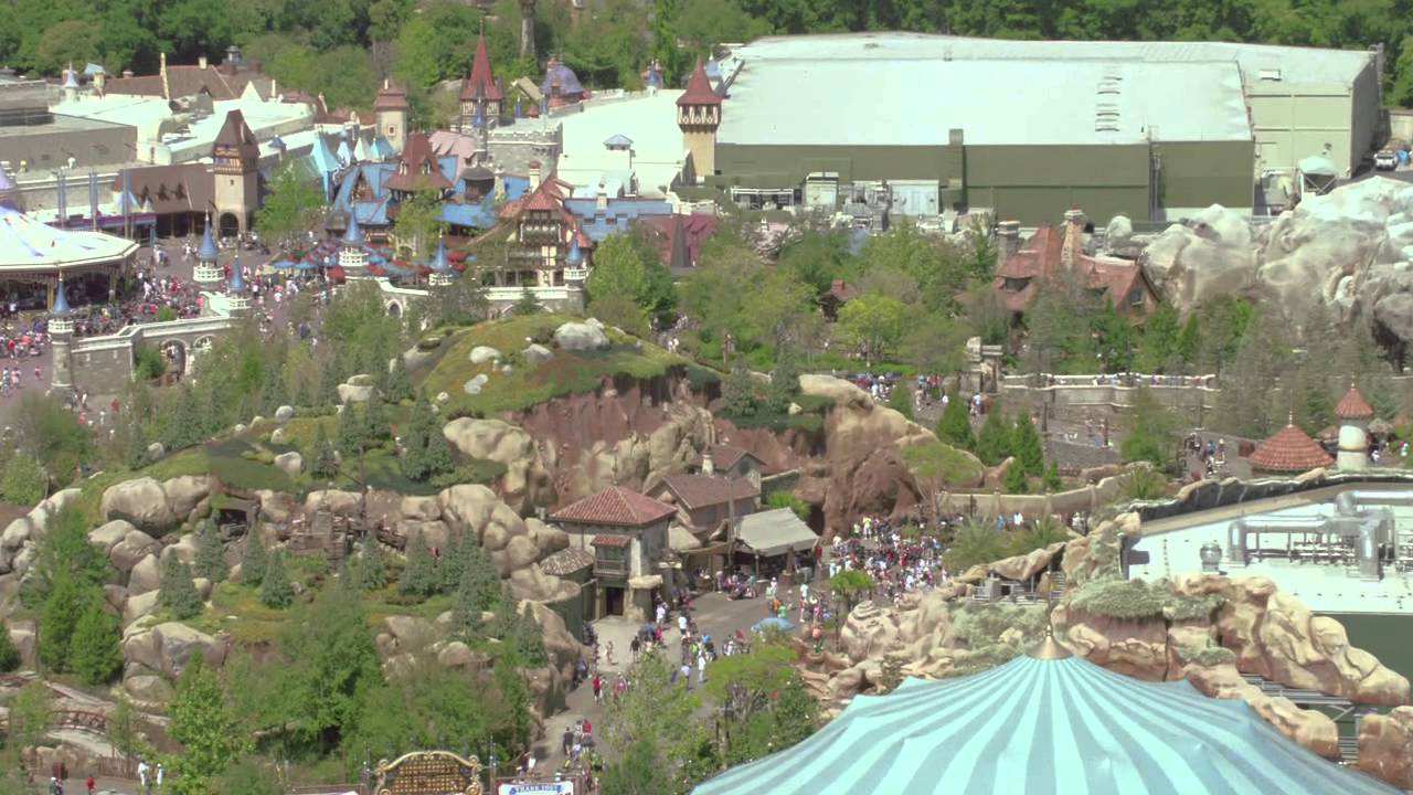 Seven Dwarfs Mine Train aerial views