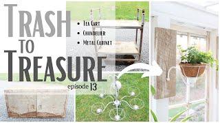 Trash to Treasure 13 ~ Chandelier Makeover ~ Tea Cart Repurpose ~ DIY Furniture ~ Upcycled Cabinet
