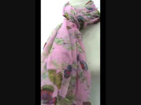 Scarf Shawl Wrap Sarong Pareo Butterfly Floral WholesaleSarong.com