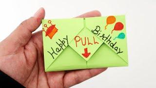 DIY - Pull Tab Origami Envelope Card | Letter Folding Origami | Birthday Card | Greeting Card