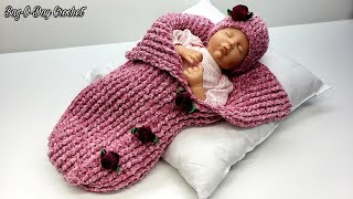 How To Crochet A Baby Cocoon with Hat | Serenity Sleep Sack | Bag O Day Crochet Tutorial #618