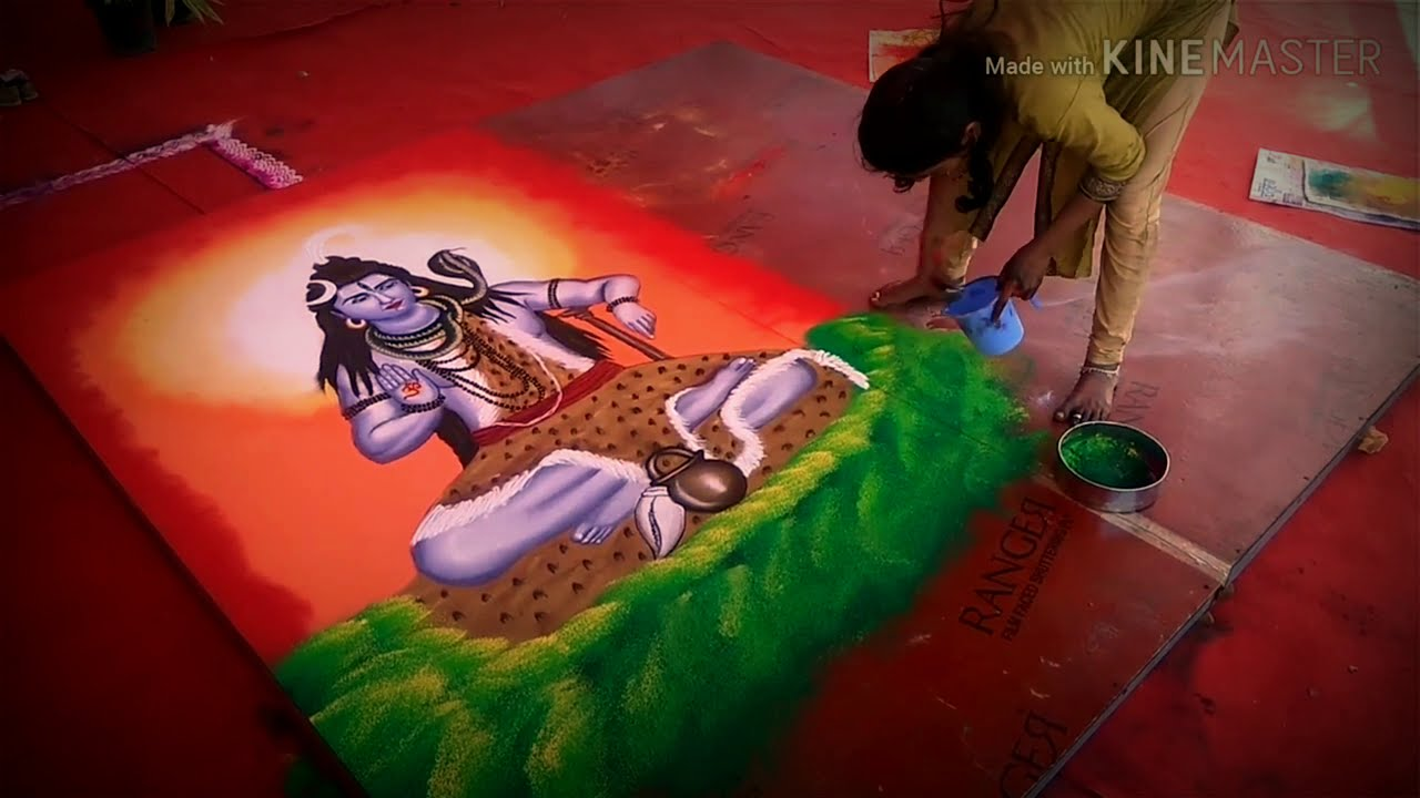 lord shiva portrait rangoli design by rajshri bhagwat