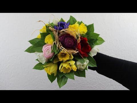 FrühlingsdekoAnleitung ❁ Blumenstrauß mit Osterglocken, Anemonen undRanunkelnselber binden