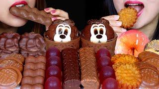 ASMR SOFT DESSERTS (CHOCOLATE MOUSSE CAKE, BUBBLY CHOCOLATE, MARSHMALLOW, JELLY, YAKGWA, MILKA 먹방