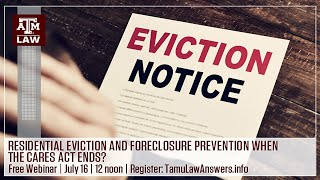 Residential Eviction and Foreclosure Prevention after the CARES Act