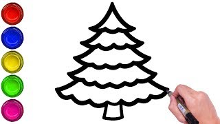 HOW TO DRAW CHRISTMAS TREE EASILY | DRAW CHRISTMAS TREE STEP BY STEP | DRAW SIMPLE CHRISTMAS TREE