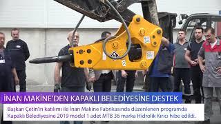 İnan Makine'den Kapaklı Belediyesine Ekipman Desteği