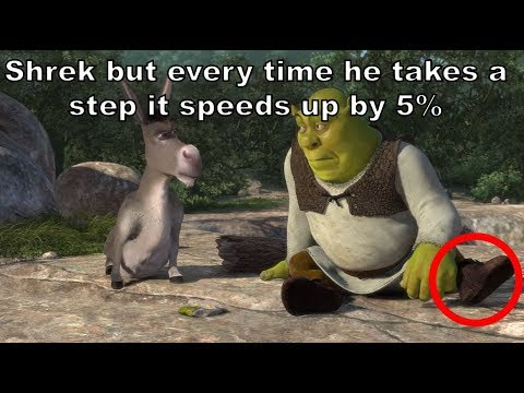 Shrek but every time he takes a STEP it gets 5% faster